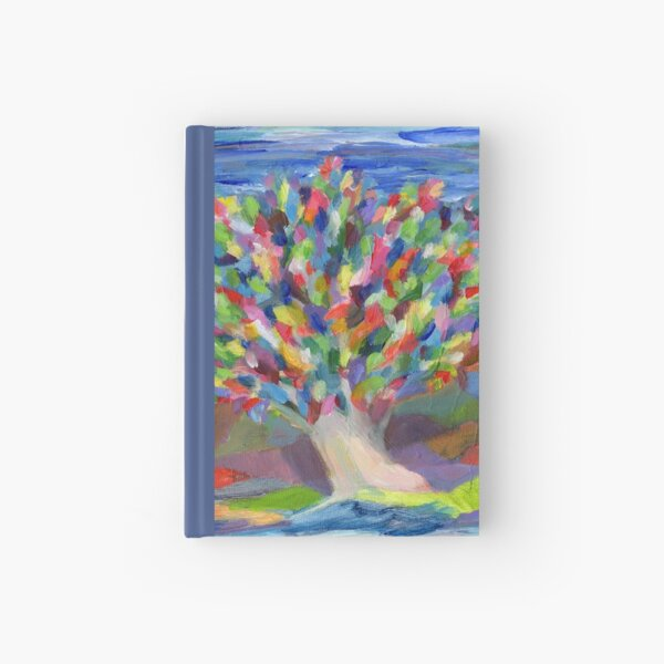 Dream Tree, grow your hopes and dreams. A rainbow leaved tree grows on a rocky coast by the sea in this colorful acrylic daydream. Hardcover Journal