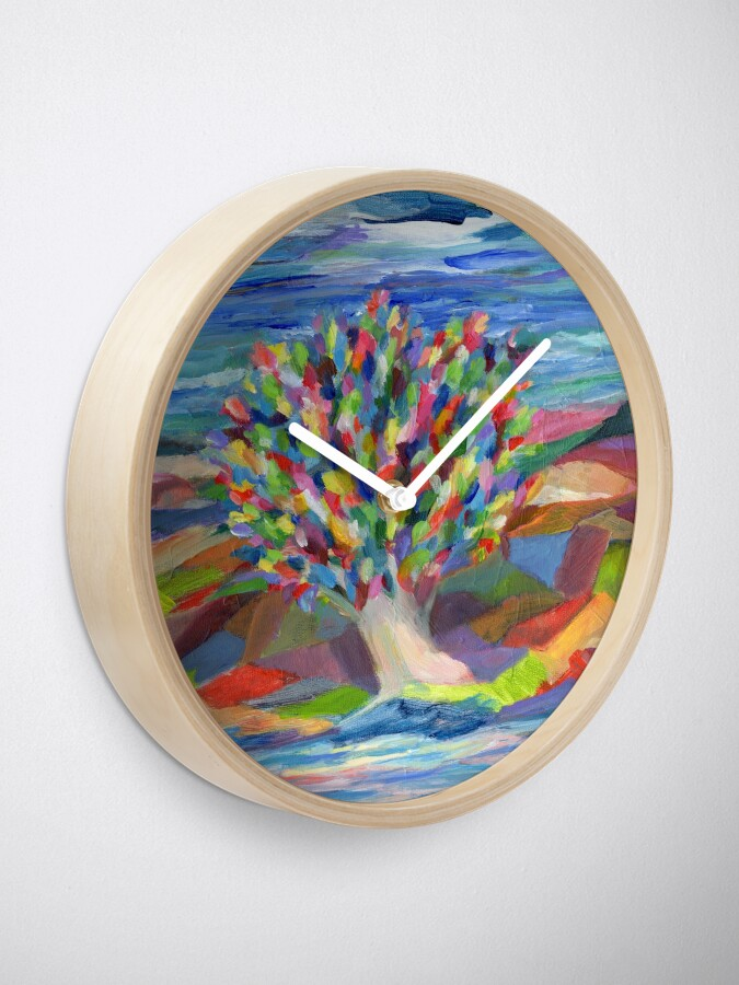 Alternate view of Dream Tree, grow your hopes and dreams. A rainbow leaved tree grows on a rocky coast by the sea in this colorful acrylic daydream. Clock