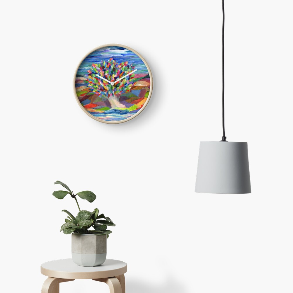 Dream Tree, grow your hopes and dreams. A rainbow leaved tree grows on a rocky coast by the sea in this colorful acrylic daydream. Clock