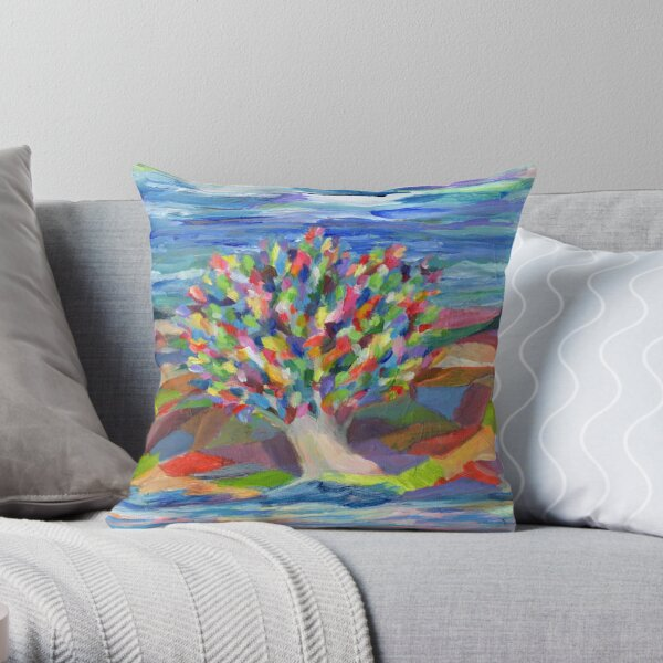 Dream Tree, grow your hopes and dreams. A rainbow leaved tree grows on a rocky coast by the sea in this colorful acrylic daydream. Throw Pillow