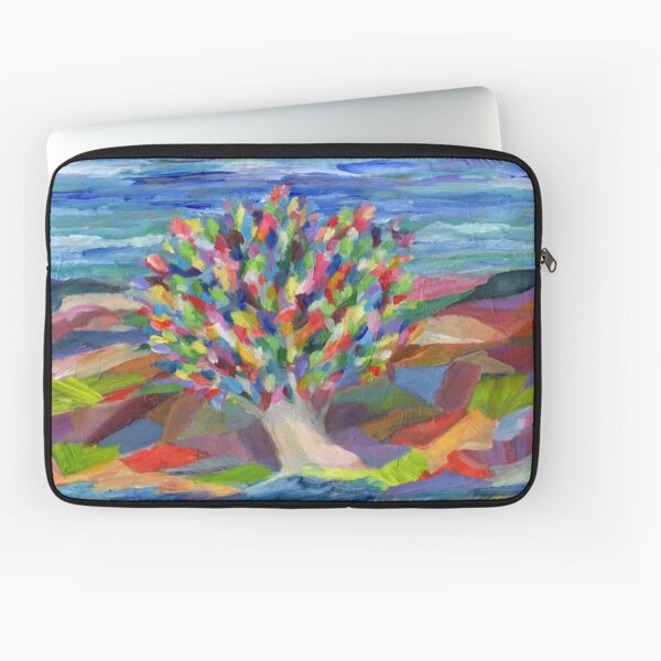 Dream Tree, grow your hopes and dreams. A rainbow leaved tree grows on a rocky coast by the sea in this colorful acrylic daydream. Laptop Sleeve