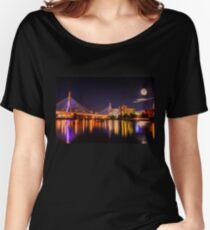 Moon light over Zakim bridge Women's Relaxed Fit T-Shirt