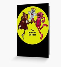 Saturday Morning Disco Dancing Cereal Monsters Greeting Card