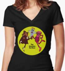 Saturday Morning Disco Dancing Cereal Monsters Women's Fitted V-Neck T-Shirt