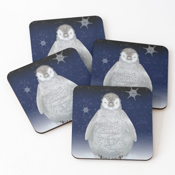 Penguin at Night Coasters (Set of 4)