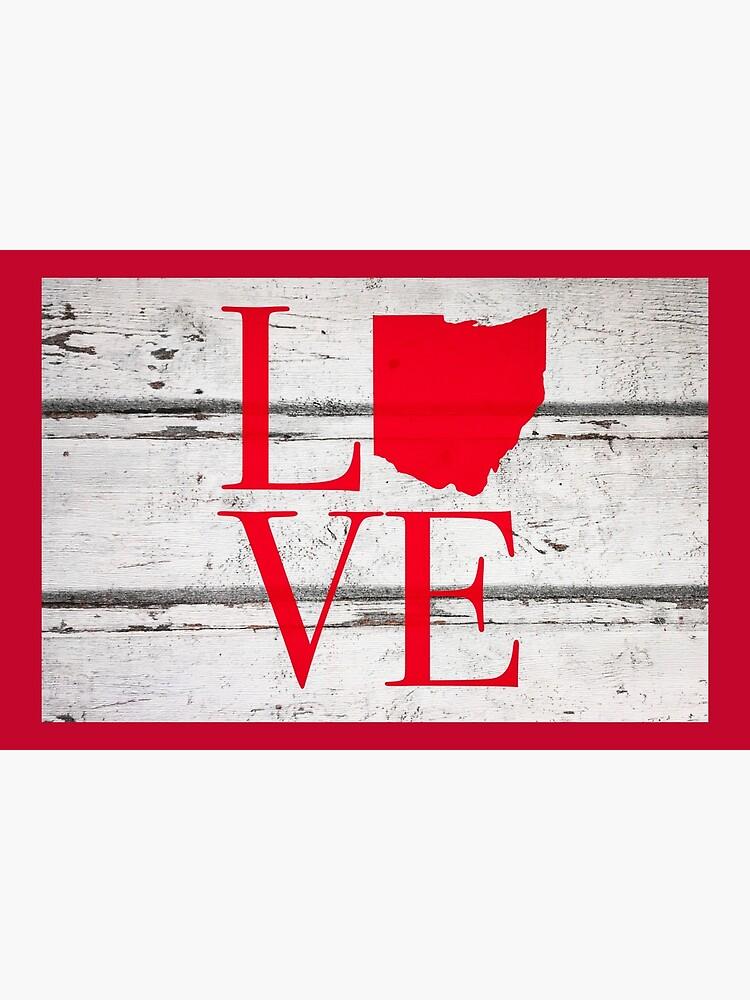 Love Ohio Wood Rustic Map Pride Stickers Shirts by rbaaronmattie