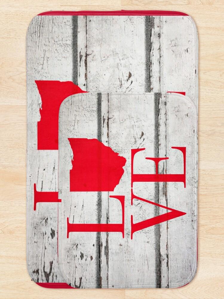 Alternate view of Love Ohio Wood Rustic Map Pride Stickers Shirts Bath Mat