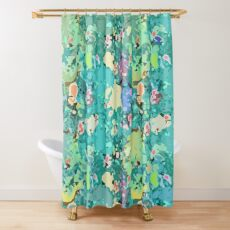BLUE SNOW FLOWERS Shower Curtain