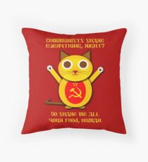 Comrade cat Throw Pillow