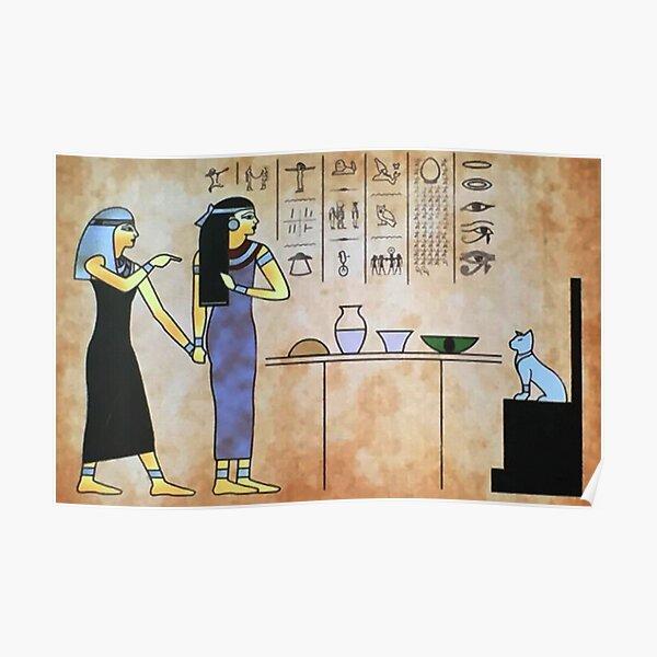 Woman yelling at cat - Meme hieroglyph Poster