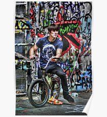 BMX Biker and graffiti Poster