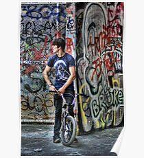 BMX biker waiting to ride Poster