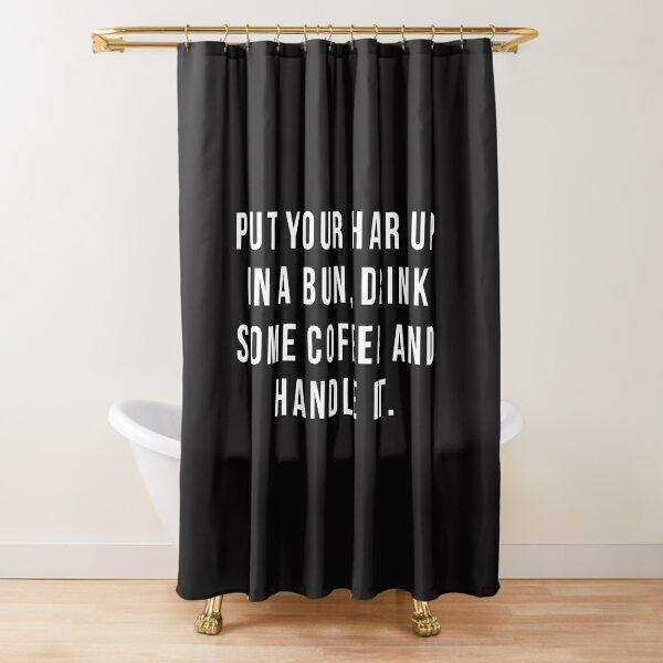 Legen Sie Ihre Haare in ein Brötchen Duschvorhang
