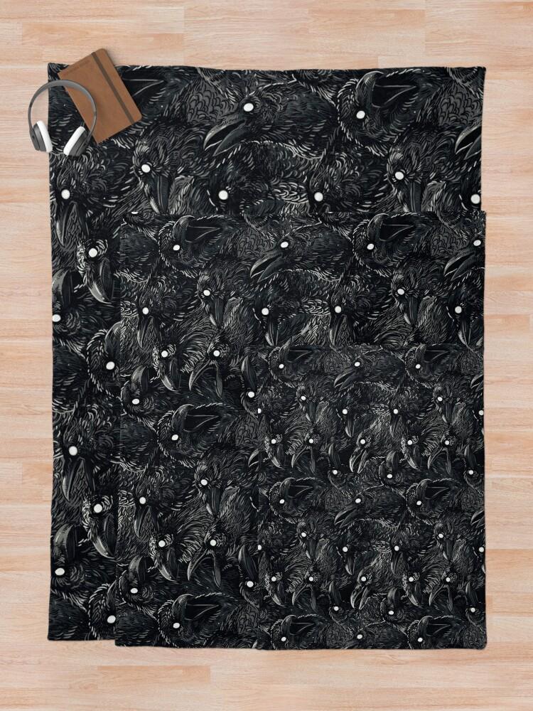 Alternate view of Raven pattern 2 Throw Blanket