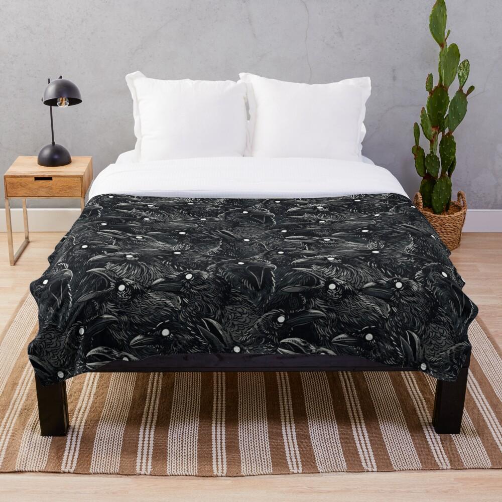 Raven pattern 2 Throw Blanket