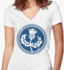 Thistle & Braid - Blue Women's Fitted V-Neck T-Shirt