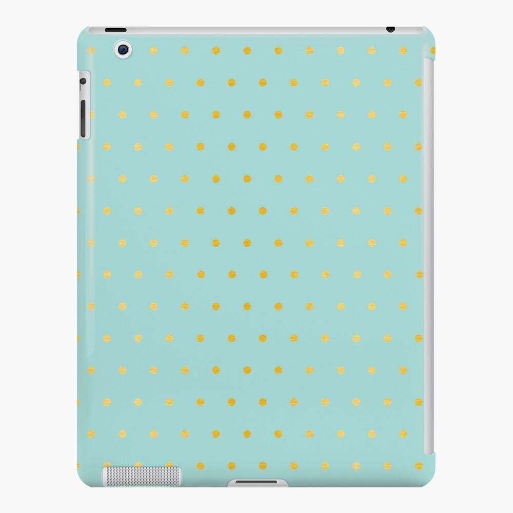 lite aqua with gold foil dots iPad Case & Skin