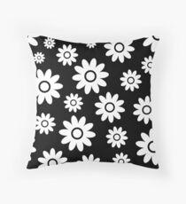 Black Fun daisy style flower pattern Throw Pillow