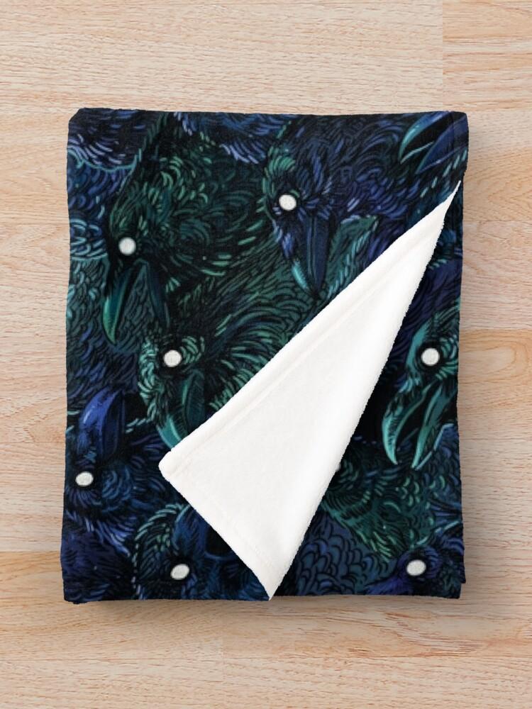 Alternate view of Raven pattern Throw Blanket