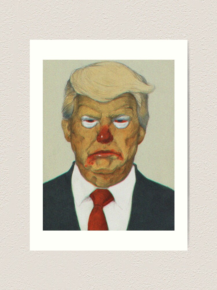 Alternate view of Loud Clown Trump Portrait   Digitally Manipulated Graphite Drawing Art Print