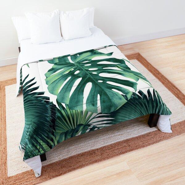 Tropical Summer Leaves Jungle Pattern #1 #tropical #decor #art Comforter