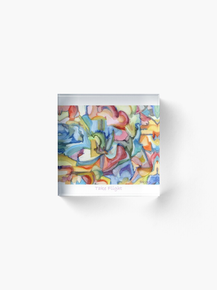 Alternate view of Take Flight. An abstract expressionist, watercolor painting about hopes, dreams and freedom. Acrylic Block