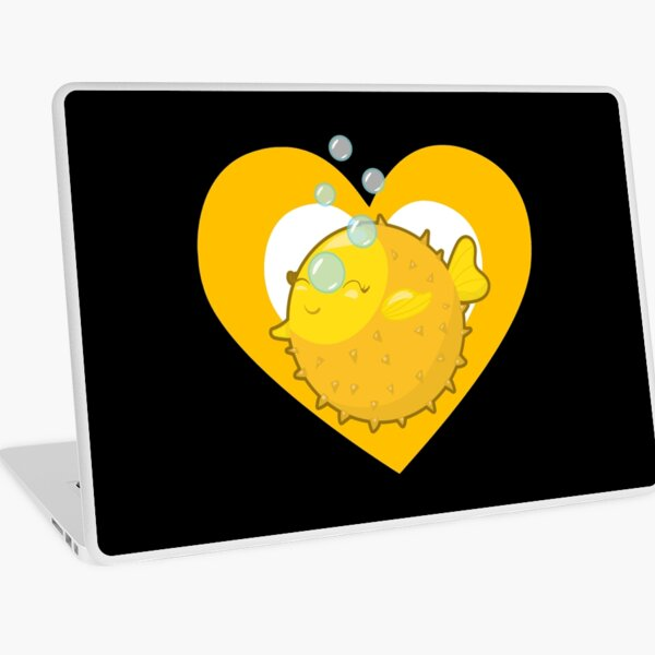 Cute Pufferfish Heart for Blowfish Lovers Laptop Skin