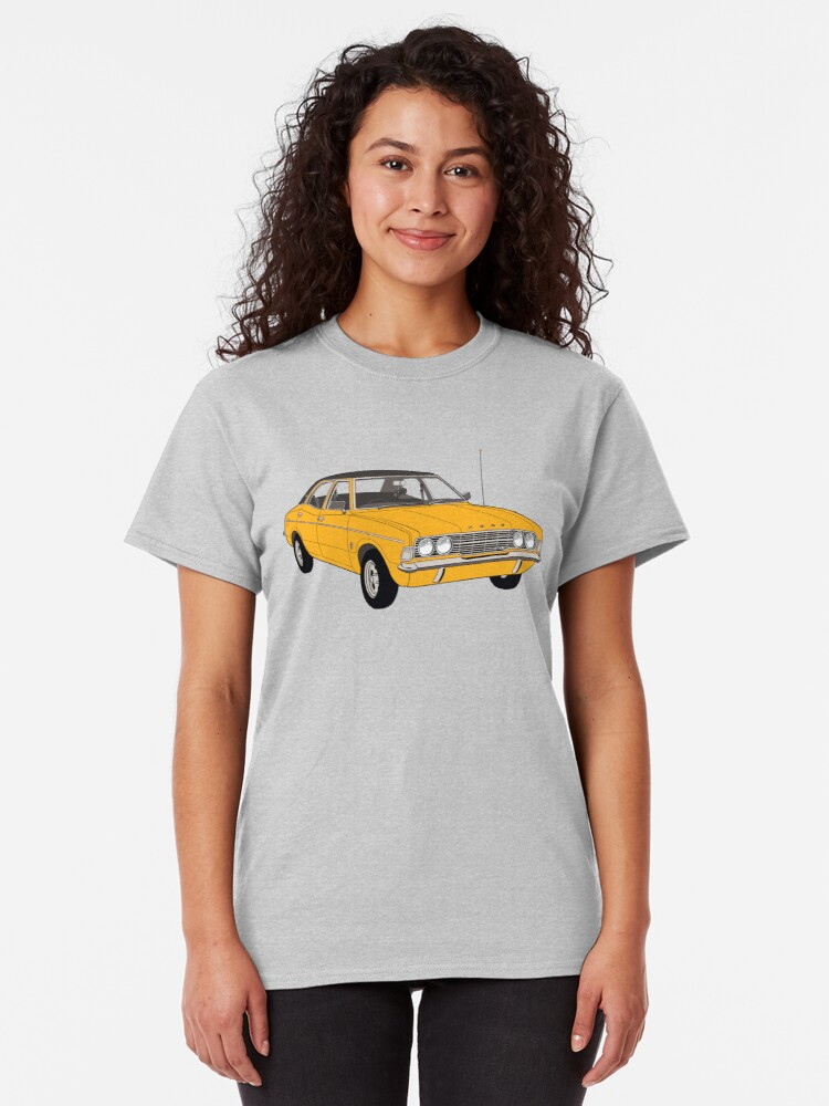 Alternate view of 1972 Ford Cortina TC Mark III GXL - Amber paint (Fan Art Vector Drawing) Classic T-Shirt