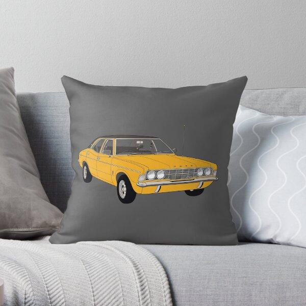 1972 Ford Cortina TC Mark III GXL - Amber paint (Fan Art Vector Drawing) Throw Pillow