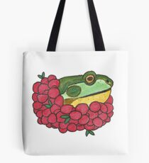 Frog and Cranberries it Must be Fall Tote Bag
