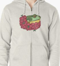 Frog and Cranberries it Must be Fall Zipped Hoodie