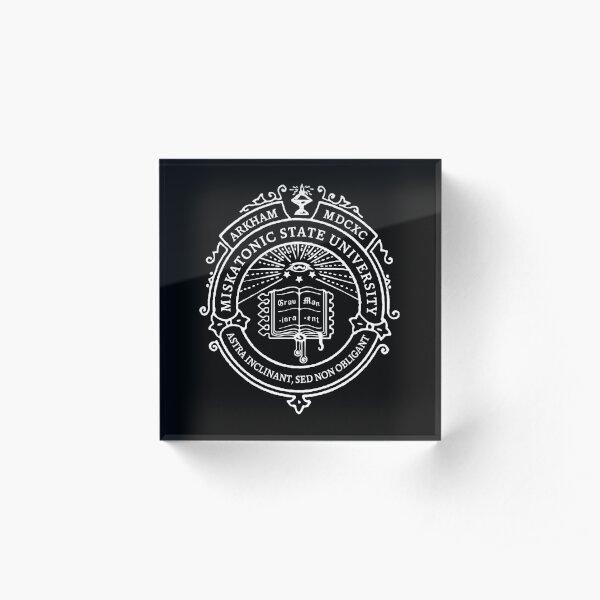 Miskatonic State University Seal Dark Acrylic Block