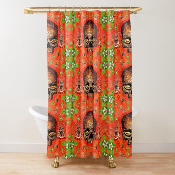 Red Spider Skull Shower Curtain