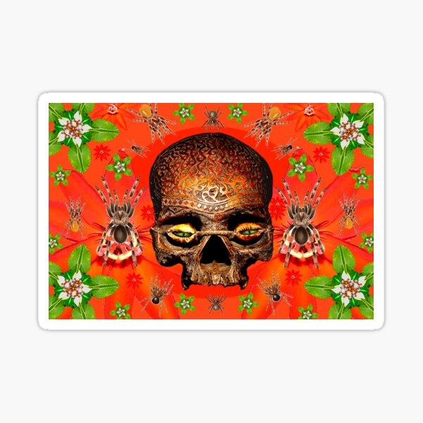 Red Spider Skull Sticker