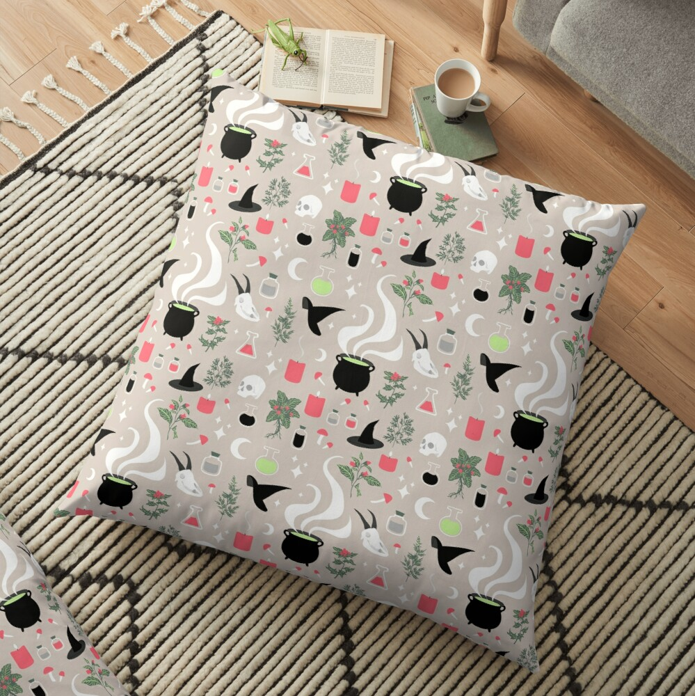 Witchy Pattern - Light Floor Pillow