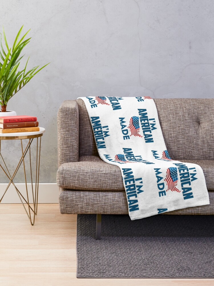 Alternate view of I Am American Throw Blanket