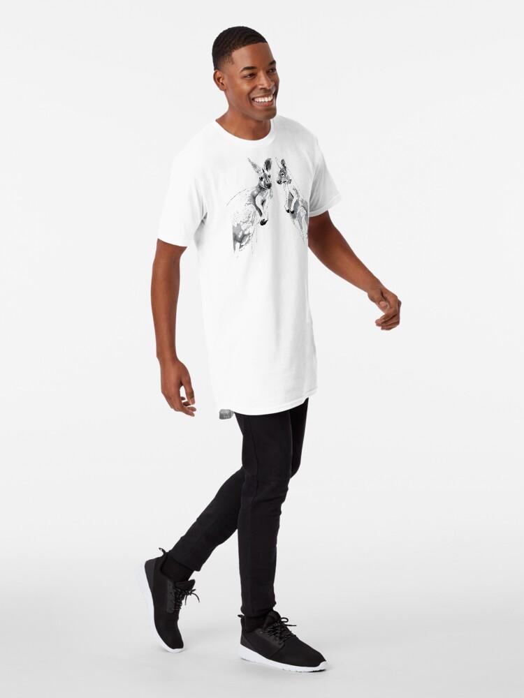 Alternate view of Kangaroos Black and White Long T-Shirt