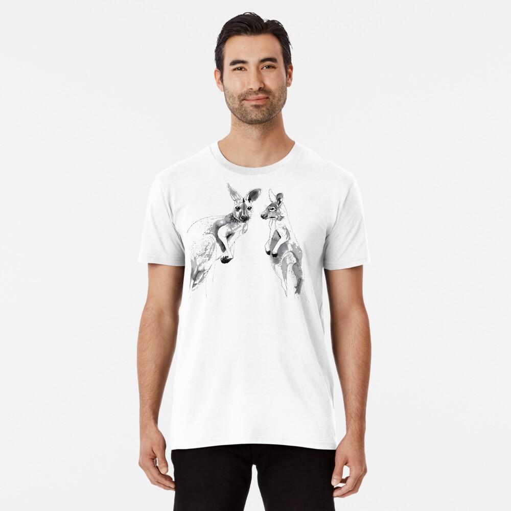 Kangaroos Black and White Premium T-Shirt