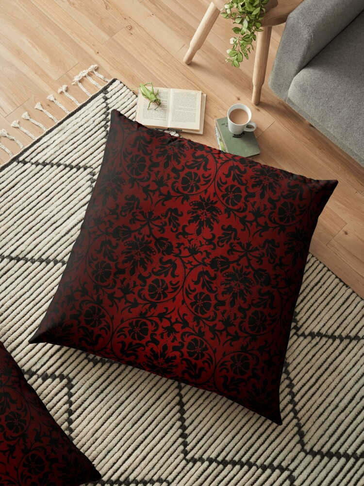 Dark Red And Black Damask Pattern Floor Pillow By Donnasiggy Redbubble
