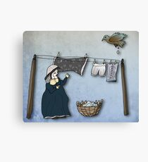 the washer woman & her nemesis... (oh crap!) Canvas Print