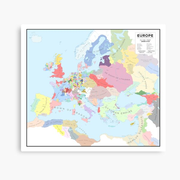 Europe in 1444 AD Canvas Print