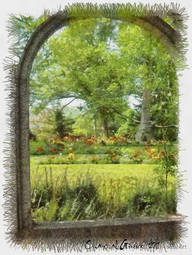 Gardens in Nova Scotia by Chantal Giroux- Darwin Pencil Art
