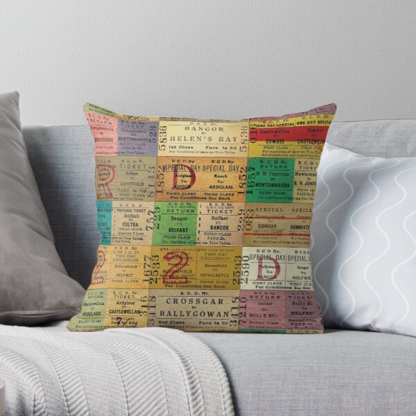 1950s & 1960s Belfast and County Down Railway Tickets  Throw Pillow