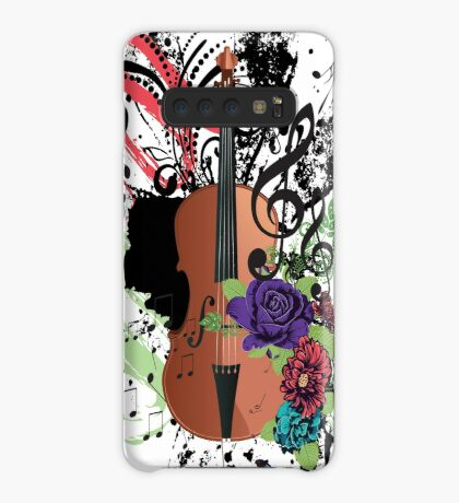 Grunge-Violine-Illustration Hülle & Klebefolie für Samsung Galaxy