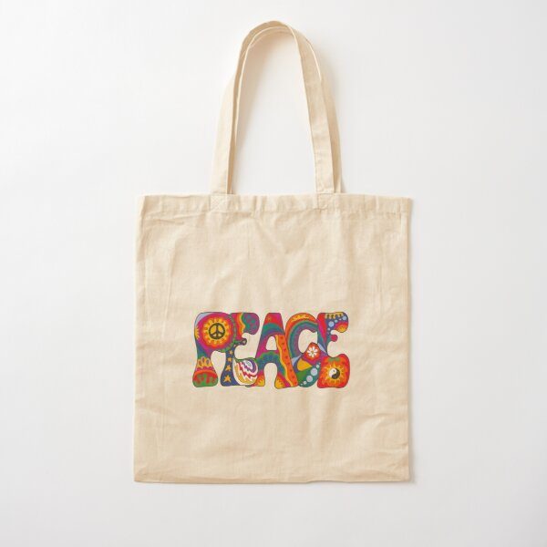 Psychedelic Peace Cotton Tote Bag
