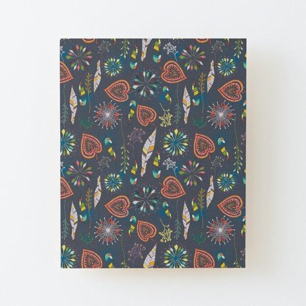 delicate flowers grey Aufgezogener Druck auf Holz