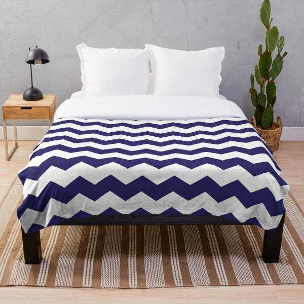 Navy Blue and White Chevron Print Throw Blanket