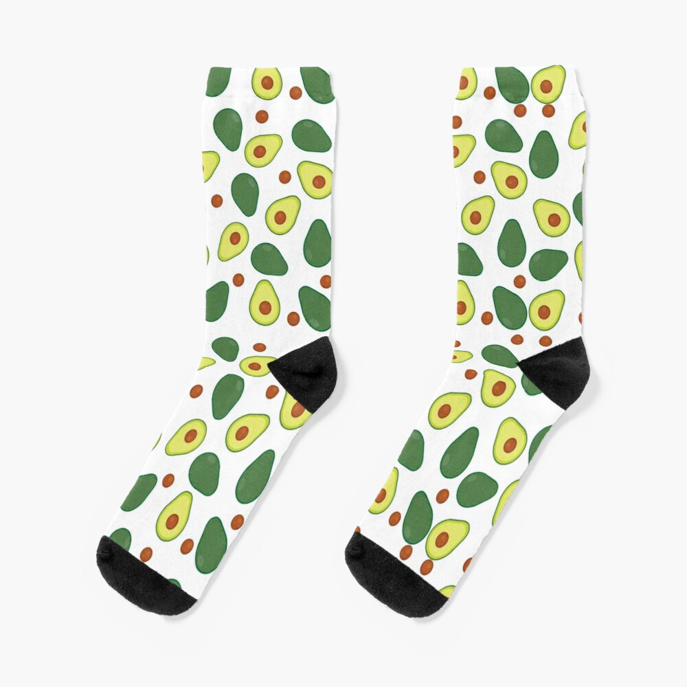 Fresh Lime Green and Yellow Avocado Pattern Socks