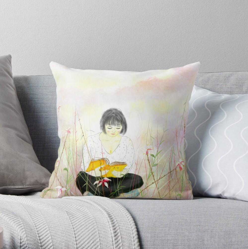 The reading girl Throw Pillow
