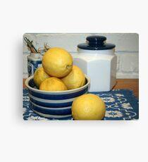 Lemons & Blue and White China Canvas Print
